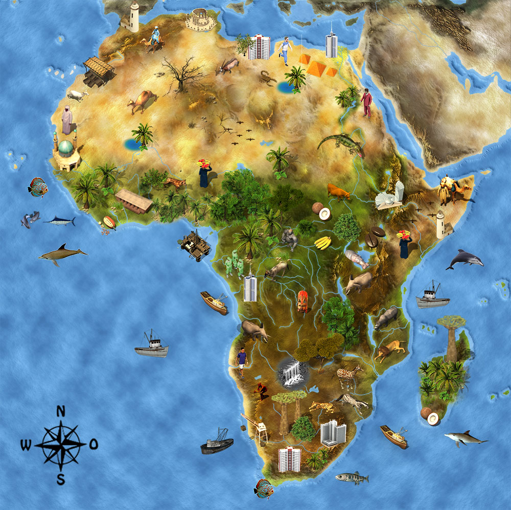 Karte Kontinente Welt.Afrika Junior Afrika Der Bunte Kontinent